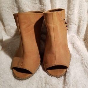 Qupid Tan Slip-on Mule with Block Heel